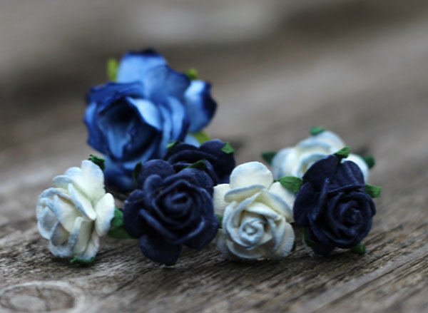 Navy and Dusty Blue Flower Hair Pins