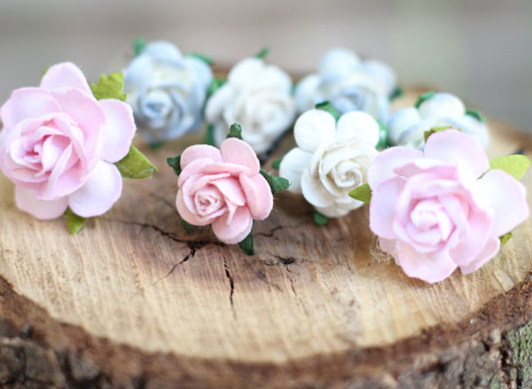 Wedding and Bridal Flower Hair in Blush and Dusty Blue Rose Hair Pins Set of 8