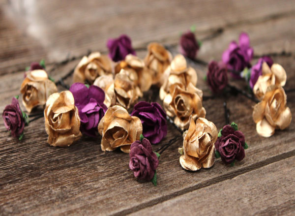 Gold Plum Purple Hair Flower Set of 22 Floral Bobby Pins