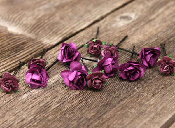 Flower Hair Pins Bridal Hair Accessories in Purple Plum Roses