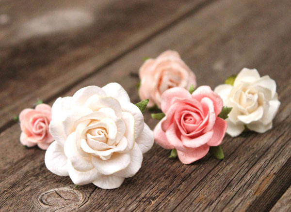 Blush Wedding Flower Hair Pins Ivory and Peach Wedding
