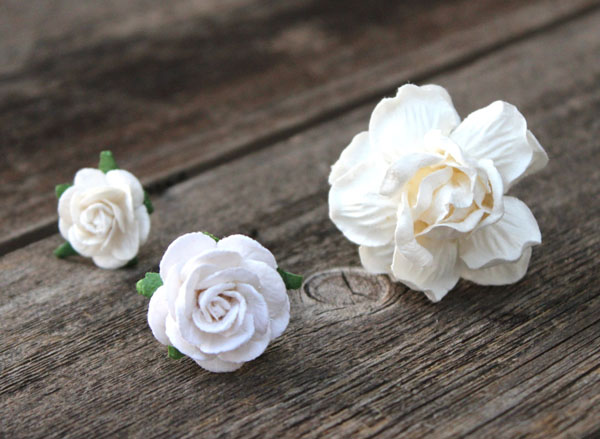 White Wedding Hair Pins Bridal Flower Hair Pick
