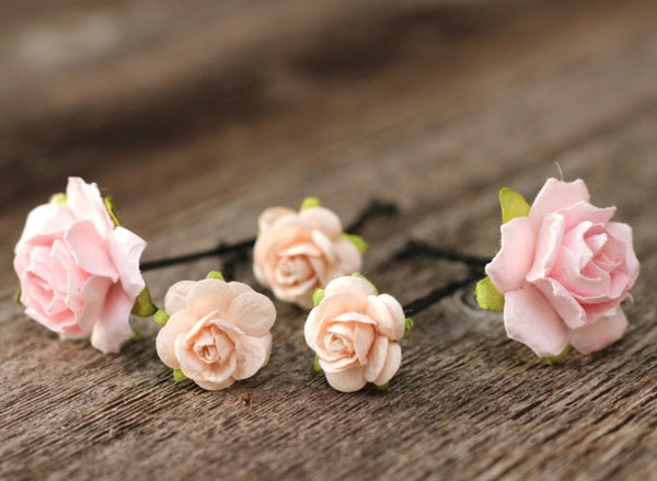 Soft Blush and Ivory Flower Wedding Hair Pins