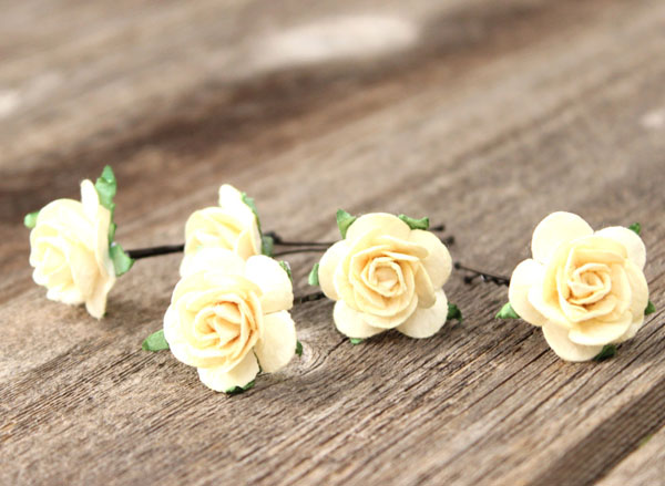 Bridal Flower Hair Pins in Cream Wedding Rose Bobby Pins