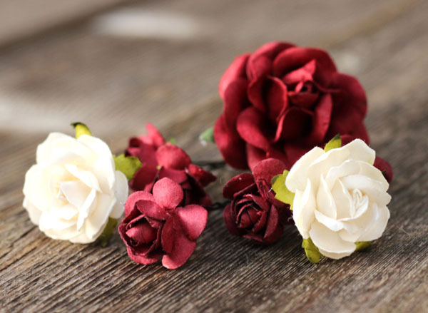 Burgundy and Ivory Flower Bobby Hair Pins Wedding