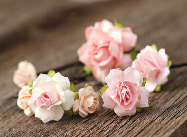 Pink Wedding Flower Hair Pins Blush Bridal Hair Accessories