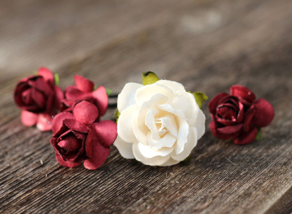 Hair Flower Ivory and Burgundy Bridal Hair Accessories