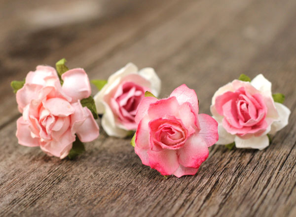 Flower Hair Pin in Blush Pink and Ivory Bridal Hair Accessories