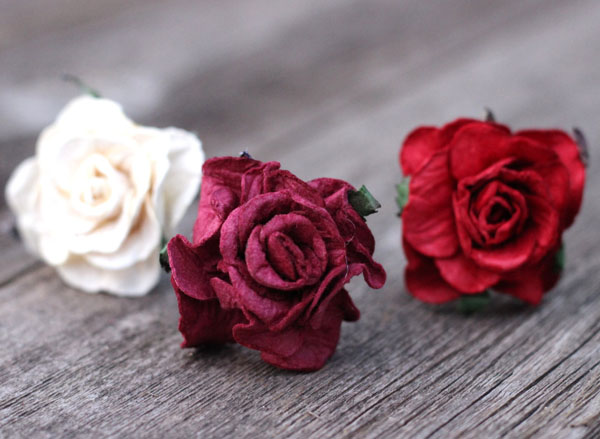 Flower Hair Pins set in Burgundy and cream red bridesmaid bobby hair picks
