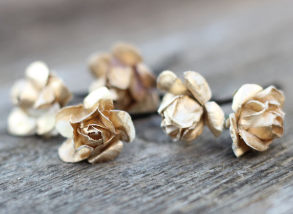 Gold Bridal Hair Flower Hair Pins Set of 5