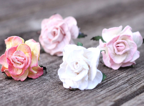 Hair Flowers Peach Ivory Blush Bridal Hair Pins Wedding Set of 4