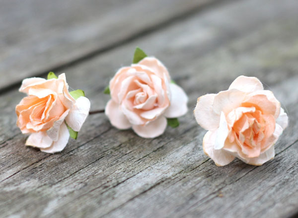 Hair Flower Pins in Peach Rose Hair Accessories | Wedding Flower Crown