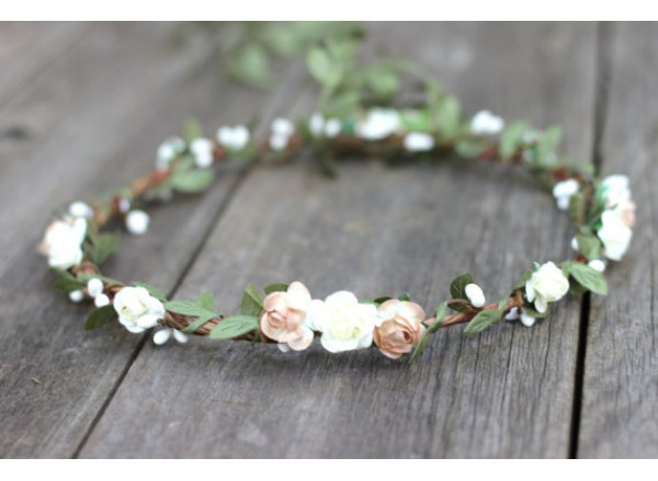 Rustic Wedding Crown Bridal Floral Crown Natural Boho Bridal Headpiece