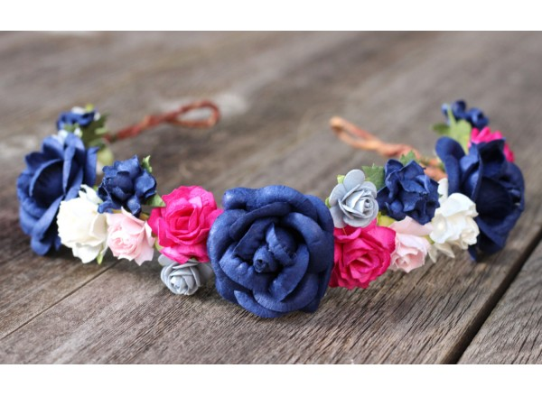 Navy Blue Flower Head Wreath Pink Rose Flower Crown Headpiece