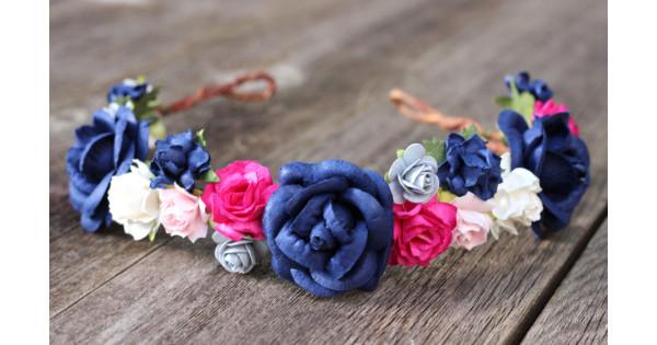 Navy Blue Flower Head Wreath Pink Rose Flower Crown