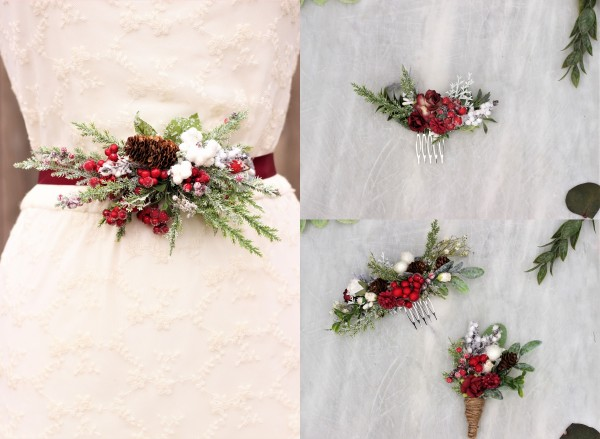 Christmas wedding hair comb, Flower belt sash, Red boutionierre