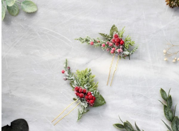 Christmas red berry hair pin set - Holiday hair pins winter wedding