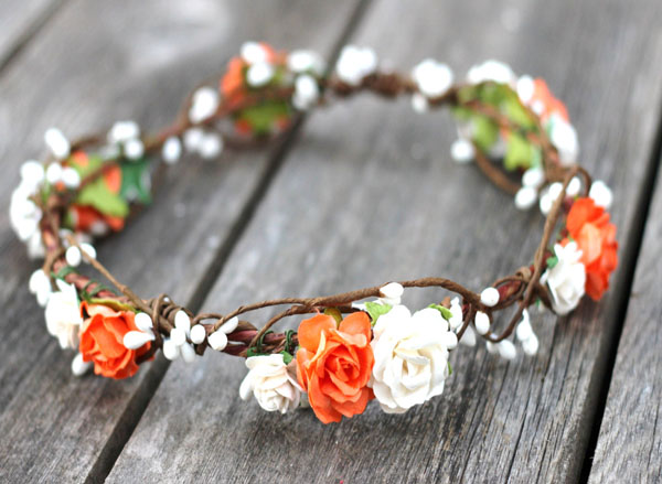 Fall Orange Flower Crown Rustic Wedding Floral Halo White