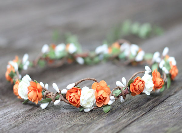 Orange Flower Crown Ivory Floral Leaf Hair Wreath Fall Hair Halo