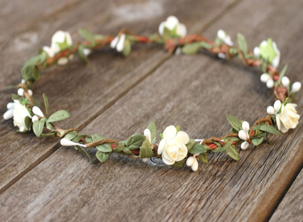 Boho Flower Crown Greenery Leaf Crown Ivory Wedding Hair Wreath