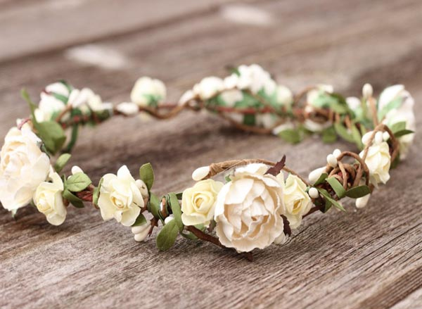 Bridal Ivory Head Wreath White Wedding Flower Crown