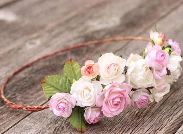 Blush Wedding Flower Crown Halo Woodland Floral Hair Crown