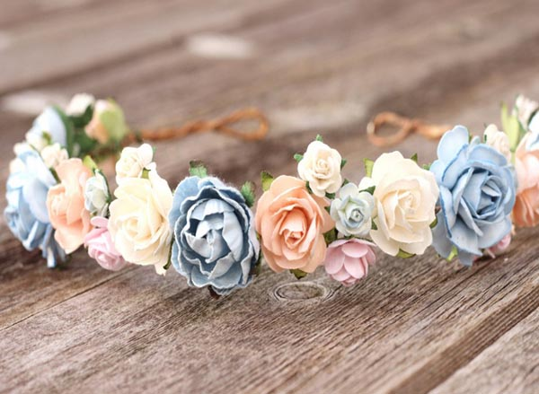 Wedding Flower Crown Blue Floral Crown Peach Bridal Hair Crown