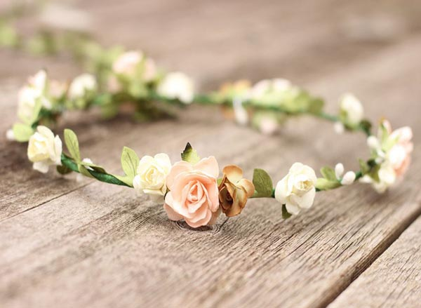Peach Headpiece Rustic Flower Crown Girls Greenery Hair Wreath