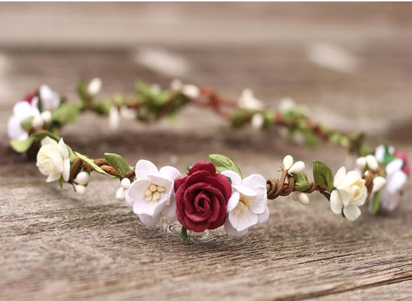Burgundy Flower Headpiece Marsala Wedding with garland Boho Hair Crown