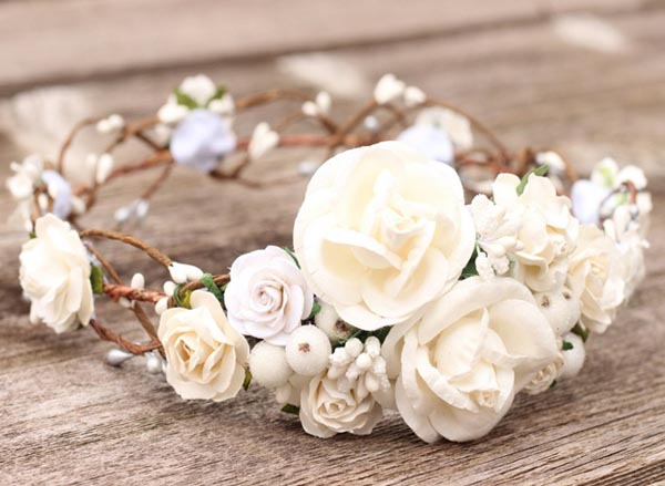 Bridal Flower Crown White Floral Crown Ivory Wedding Headdress Maternity Headpiece