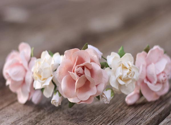 Bridal Half Comb Blush Rose Flower Crown Headpiece Wedding