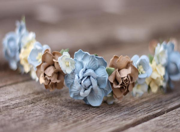 Bridal Half Crown Dusty Blue Flower Crown Wedding Floral Halo Boho