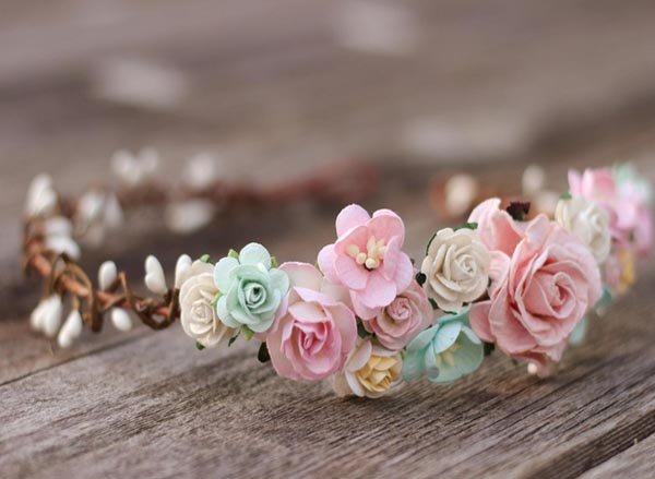 Blush Flower Crown Headband Peach Floral Crown Hair Wreath Wedding