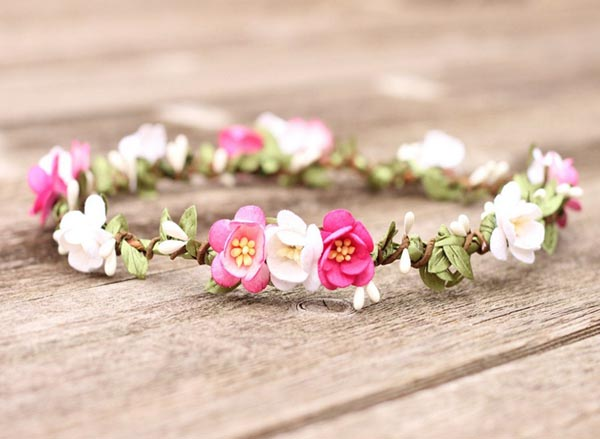 Flower Crown Headband Pink Hair Wreath Bridal Floral Crown Halo