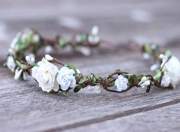 White Flower Crown Bridal Headpiece Ivory Wedding Rose Hair Garland