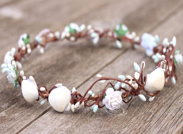 Sea shell Flower Crown Hair Wreath Beach Floral Hair Crown Boho