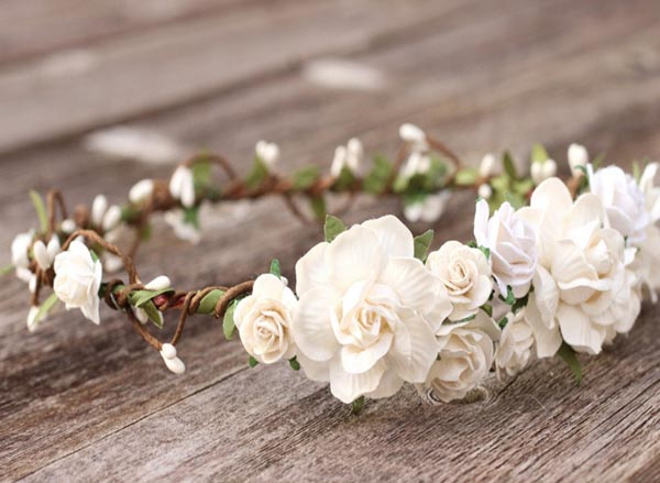 White Flower Crown | White Floral Crown | Wedding Headpiece | Ivory Floral Headpiece