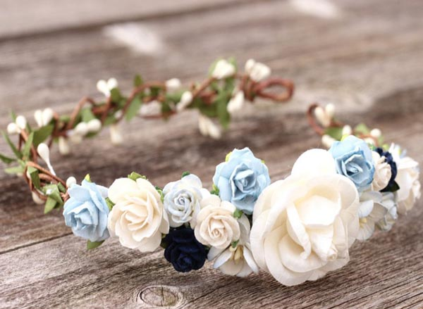 Flower Crown Navy and Ivory Floral Head Wreath Leaf Garland Blue