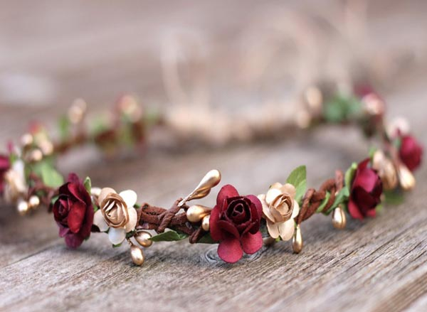 Flower Crown Wine Earth tone Wedding Crown Fall Gold Floral Crown Burgundy
