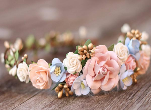 Flower Crown Wedding Dusty Blue and Blush Floral Crown Headpiece Gold
