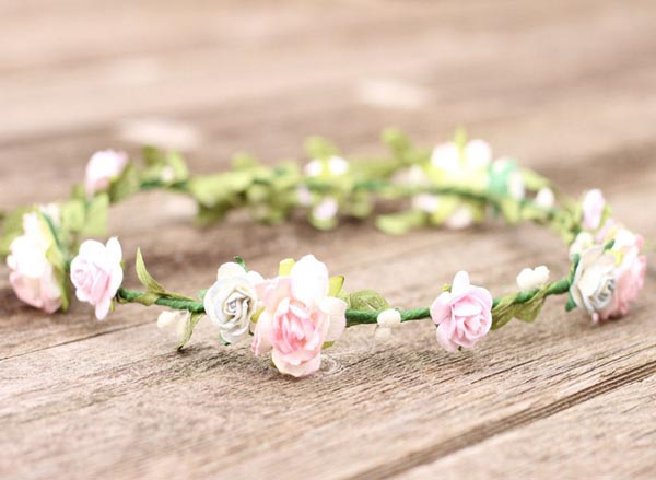 Dusty Blue and Blush Wedding Flower Crown Rose Hair Wreath Girls