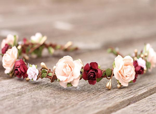 Peach and Burgundy Wedding Flower Crown Gold Bridal Headband