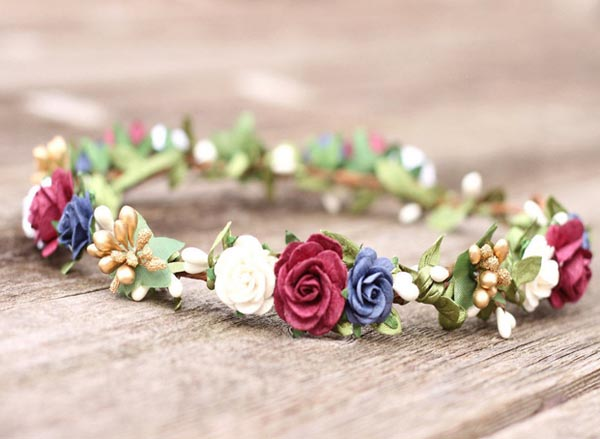 Fall Flower Crown Autumn Wedding Flower Crown Hair Wreath