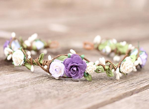 Fall Purple Flower Crown Blush and Lilac Floral Crown White Halo