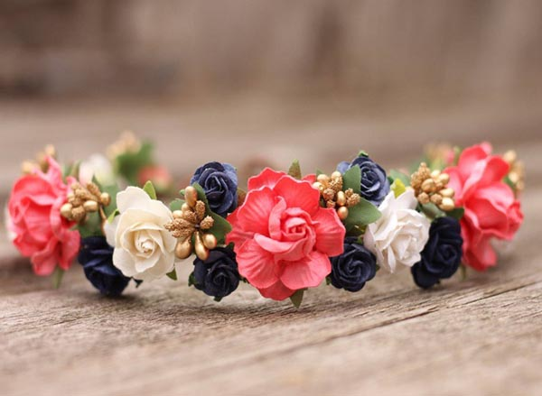 Navy Flower Crown Coral Wedding Hair Crown Headpiece Gold Headband