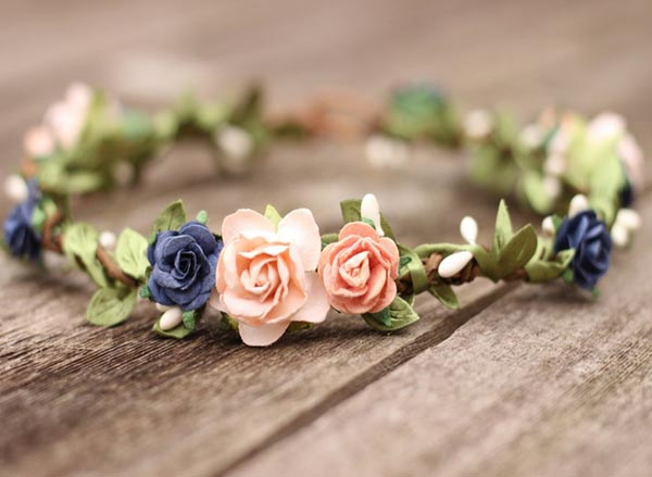 Flower Crown Peach and Navy Wedding Floral Crown Rose Headband