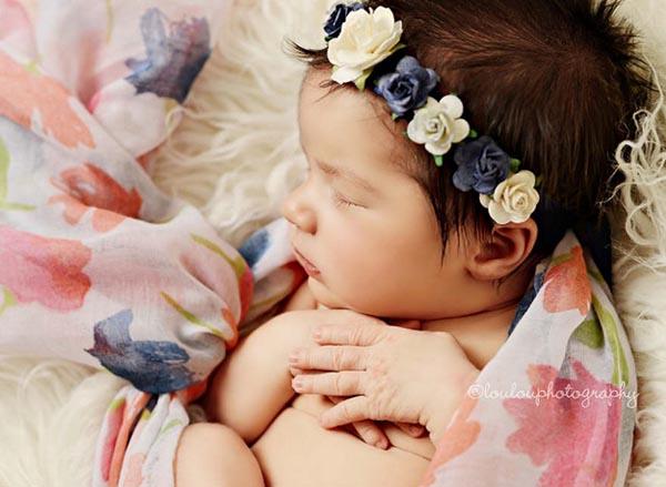 21bfad5f4c5 Newborn Baby Flower Crown Headband Navy and Ivory handmade crown