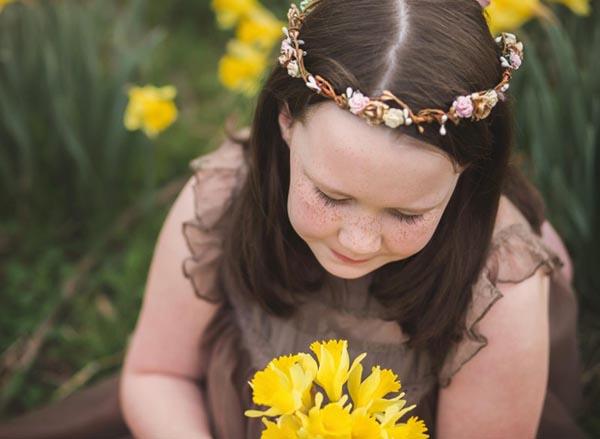 Flower Girl Gold and Blush Hair Crown Floral Hair Wreath Tiara