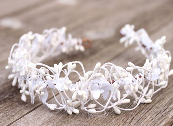 White Wedding Flower Crown Headpiece Boho Hair Crown Bridal Halo