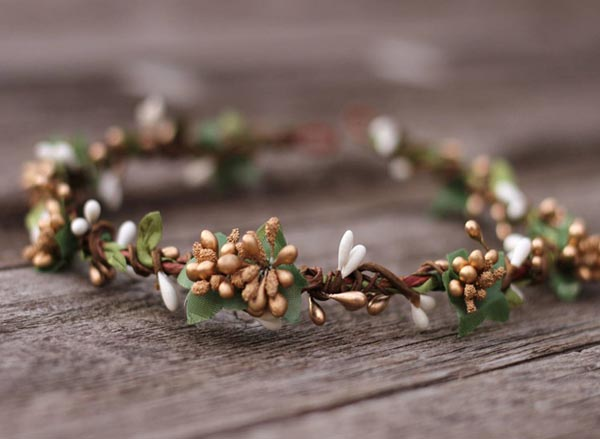 Eucalyptus Leaf Hair Piece Garden Wedding Gold Flower Crown Bridal Hair Crown Moss Green